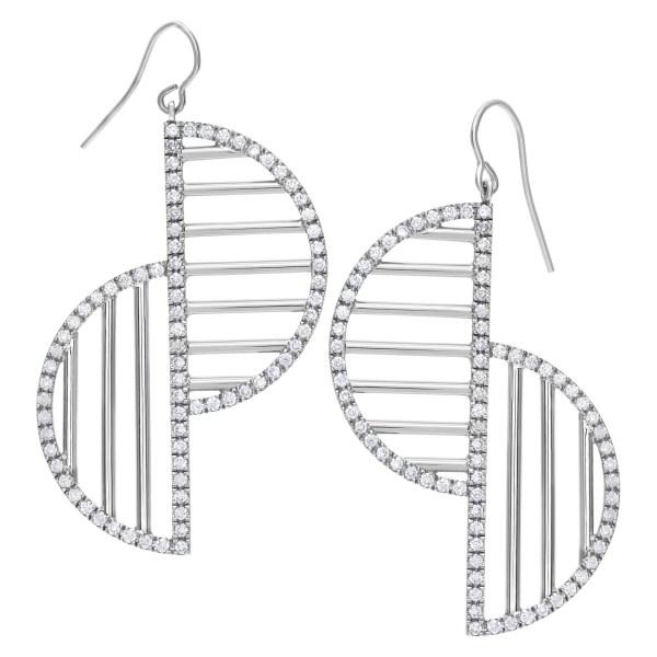 Geometry and motion custom designed diamond earrings in 18k white gold