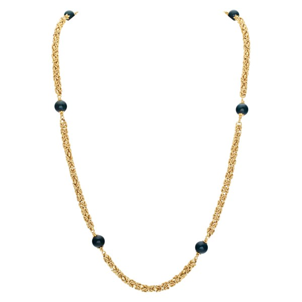 Greek 18k yellow gold necklace with african green jasper bead stations 40''