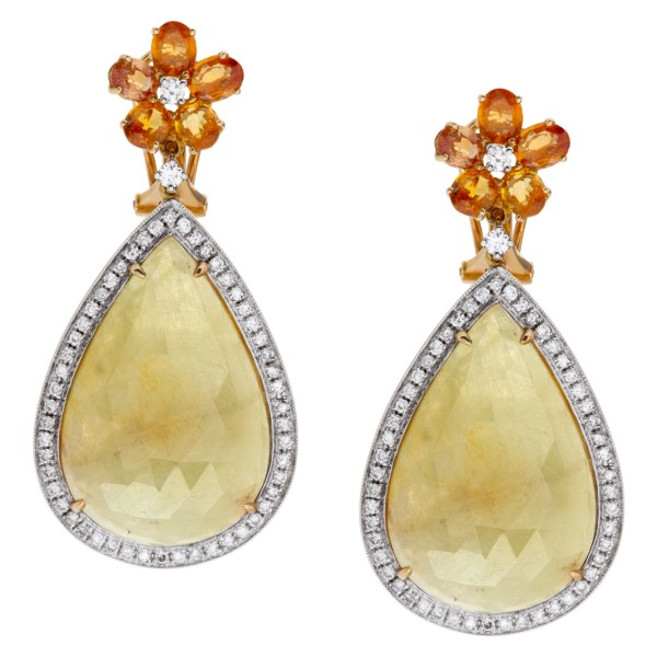 Gorgeous drop earrings with flower tops and greenish yellow fancy cut sapphire drops.