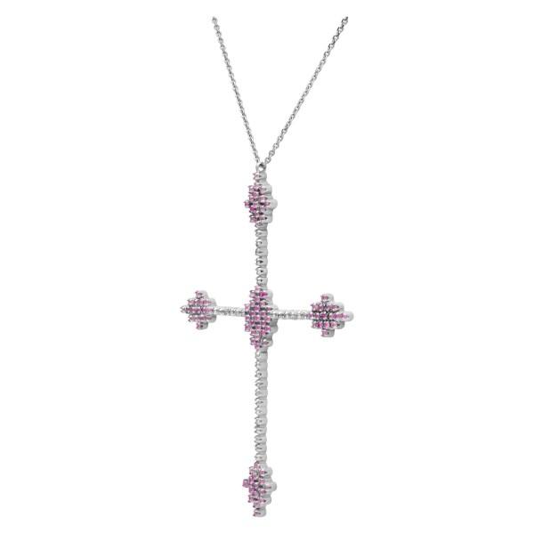 """Bizantine"" wide cross with diamonds & pink sapphires"