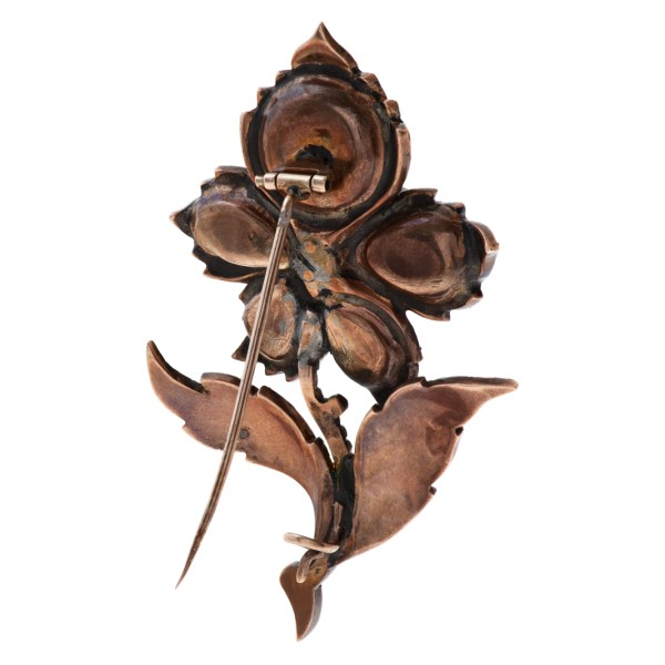 Victorian flower brooch in 14K rose gold with over 4 carats in rose cut diamonds
