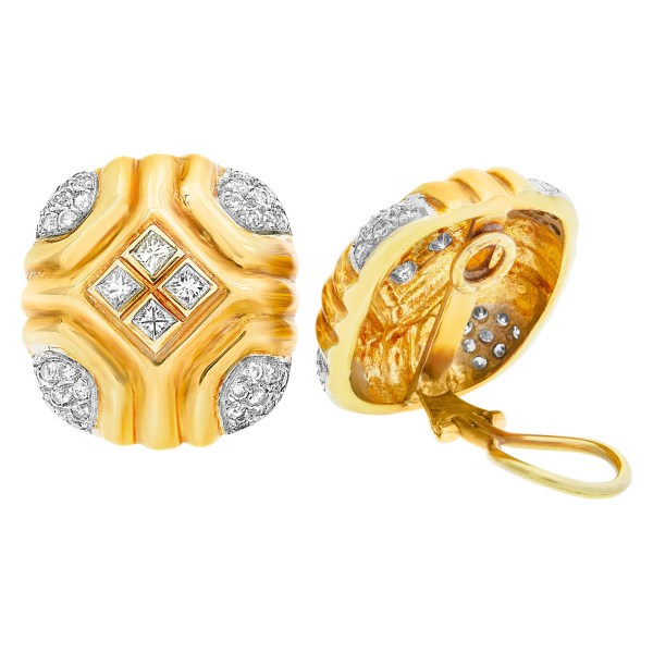Square button diamond earrings with approximately 2 carats in round and princess cut diamonds