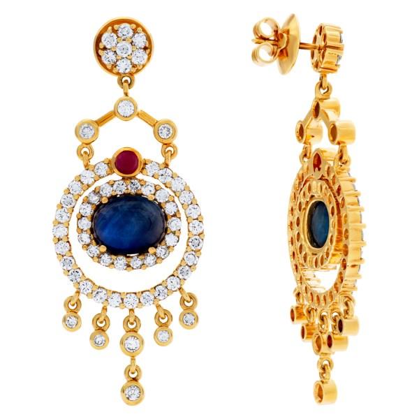 Drop earrings in 18k with diamond, sapphires & rubies