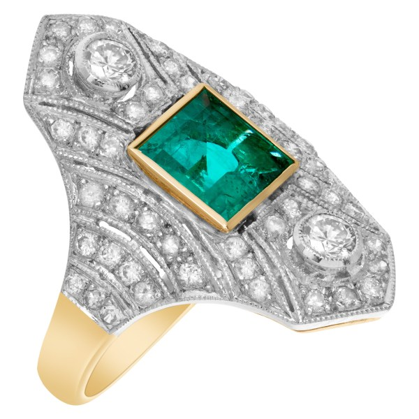 Emerald and diamond ring in 18k yellow and white gold