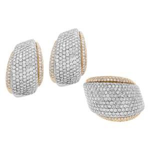 Giorgio Viscoti earring & ring set in 18k white & yellow gold