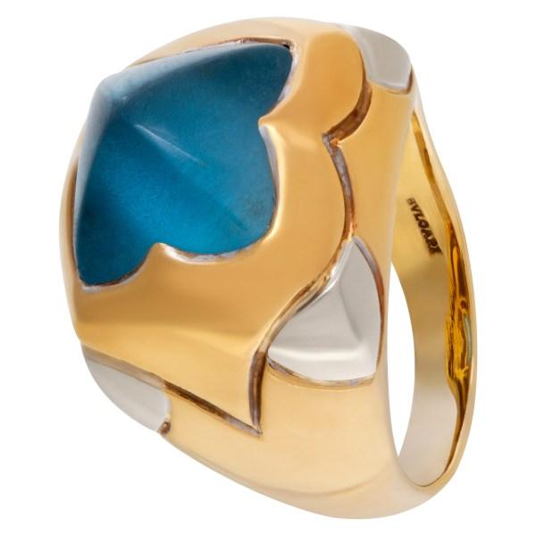 Bvlgari ring with blue topaz 18k white and yellow gold