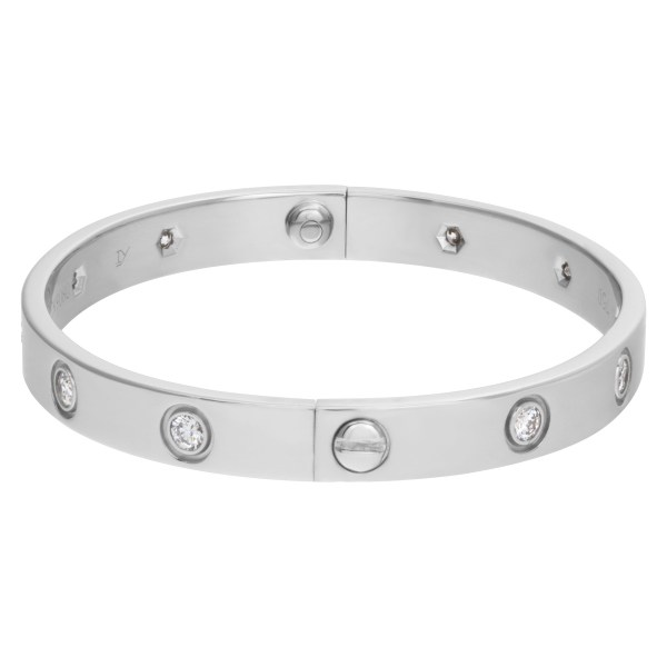 Cartier Love Bracelet in 18k white gold with 10 diamonds