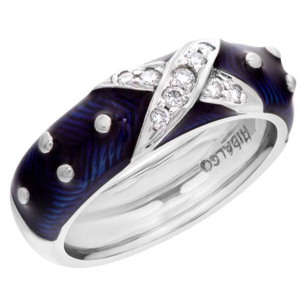 Diamond and blue enamel ring in 18k white gold