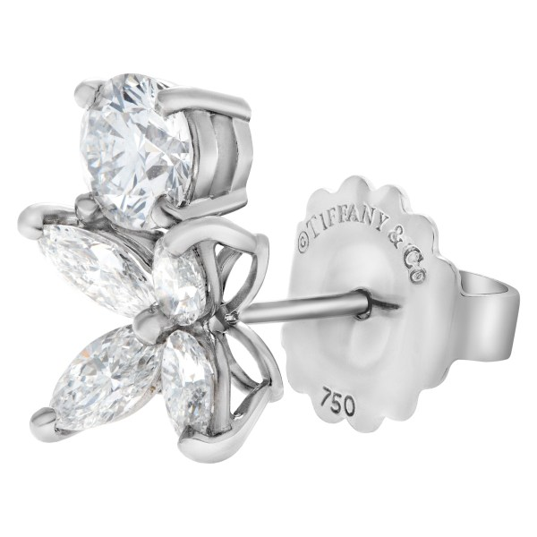 Replacement earring made to look like Tiffany & Co. Victoria earring in platinum