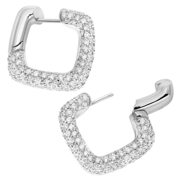 Pave diamond square hoop earrings in 18k white gold