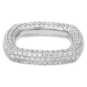 Diamond eternity pave square in 18k white gold with approximately 3.26 carats