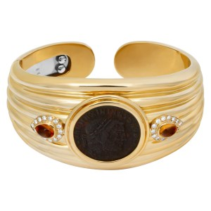 Cuff bangle with ancient coin accented by cabochon citrines and diamonds