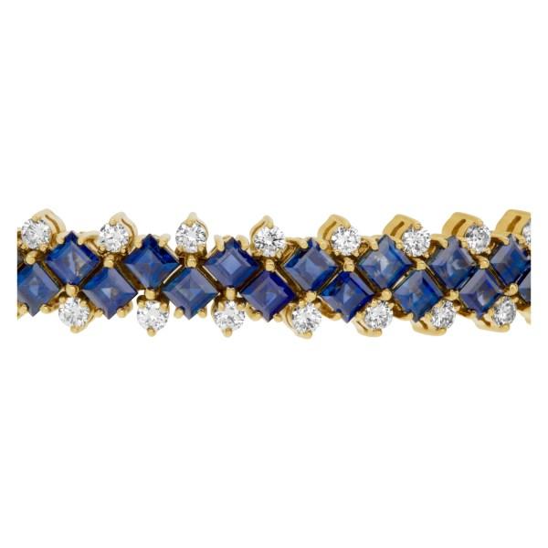 Diamond and sapphire bracelet in 18k