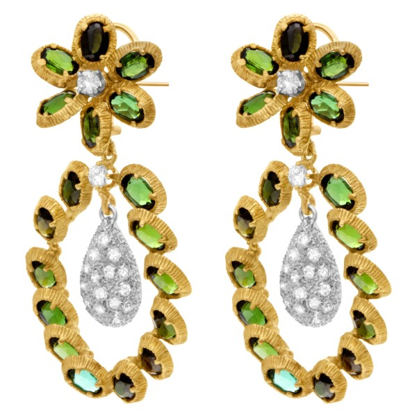 Flower earrings with dangling pave diamond teadrops in 18k