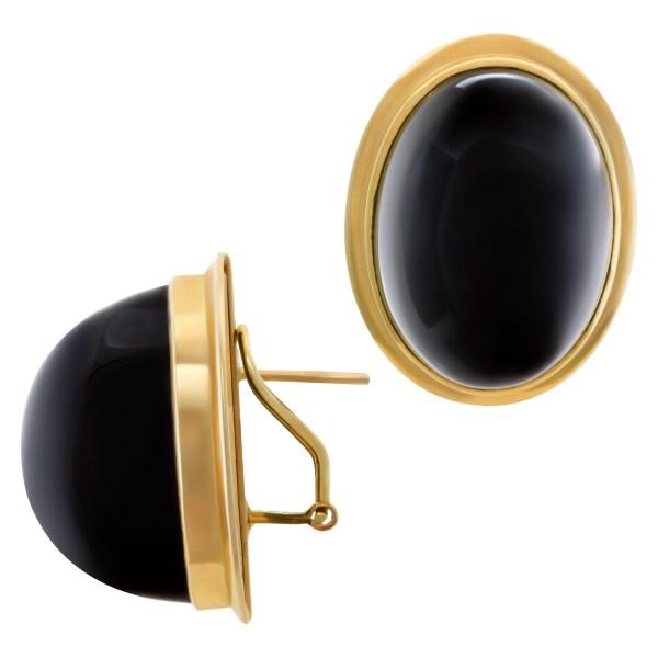 Large oval cabochon onyx earrings in 14k