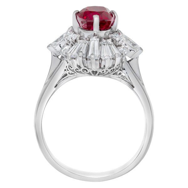 AGL certified oval 1.81 carat center ruby ring in platinum