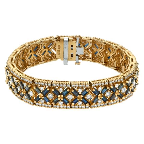 Sapphire & diamond bracelet in 14k yellow gold