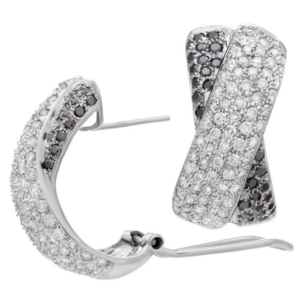 Black and white diamond earing X kisses 14k white gold