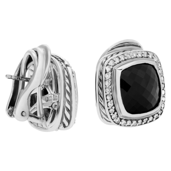 David Yurman Albion earrings in sterling silver with faceted onyx surrounded by 0.47 cts in diamonds