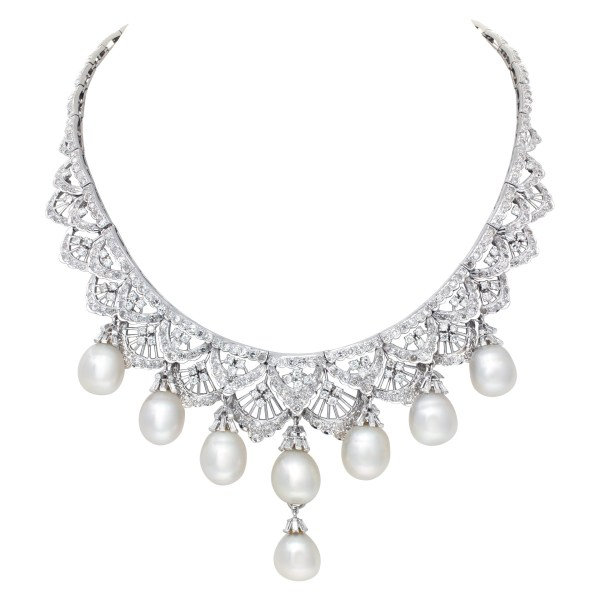 Spectacular Diamonds Necklace With Oval Shaped South Sea Peals. Over 8 Carats Full Cut Round Brilliant Diamonds.