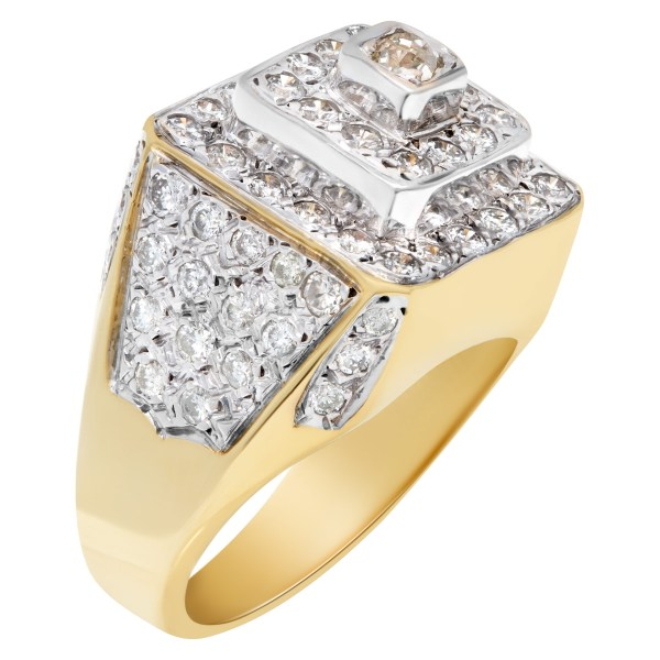 Mens diamond ring in 14k white and yellow gold