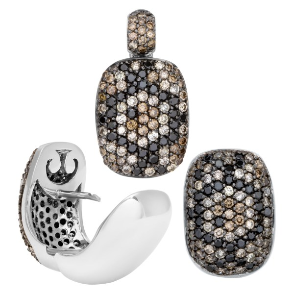 Diamond earrings and matching pendant in black and champagne diamonds in 18k white gold. 3 piece set.