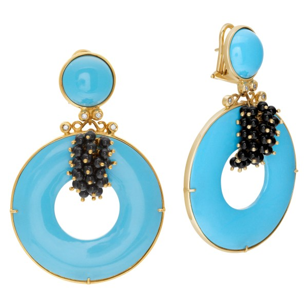 Italian designer signed dangling earrings with turquoise, diamonds & onyx set in 18K yellow gold.