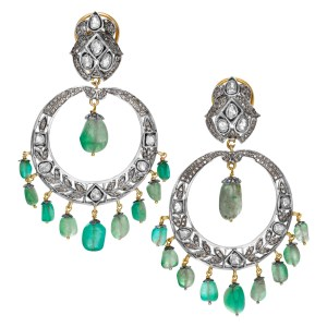 """""""Chandelier"""" earrings with Chrysoprase beads & over 5 carats rose cut diamonds set in 14K & sterling silver.Circa 1980."""