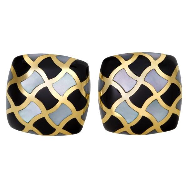 Mosaic of Mother of Pearl onyx earrings in 14k