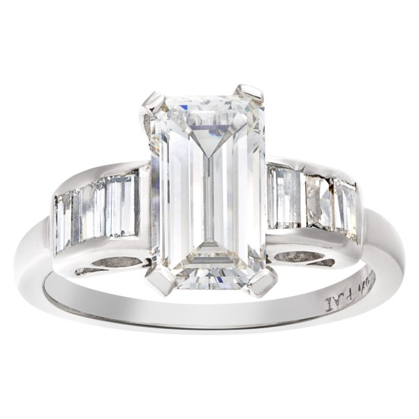 GIA certified emerald cut 1.71 carat (G color, VS2 clarity) ring
