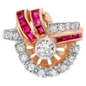 """Art Deco""""Spray"""" diamond and ruby ring in 14k rose gold"""