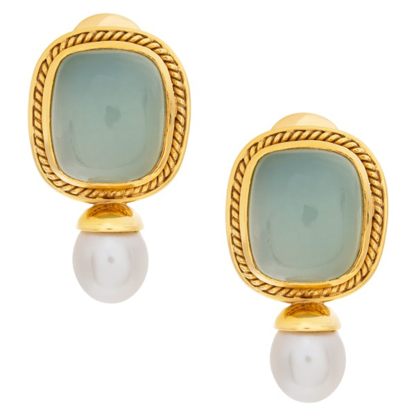 Green chalcedony earrings framed in 18k with drop pearl accent