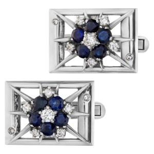Sapphire & diamond cufflinks in 14k white gold