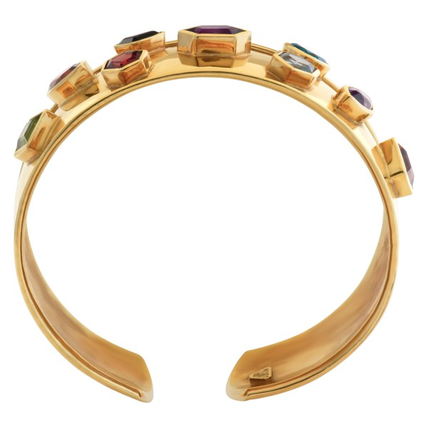 Bangle with multi colorful stones in 18k