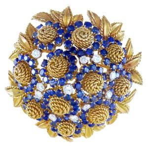 Sapphire and diamond rope flower-like brooch in 18k