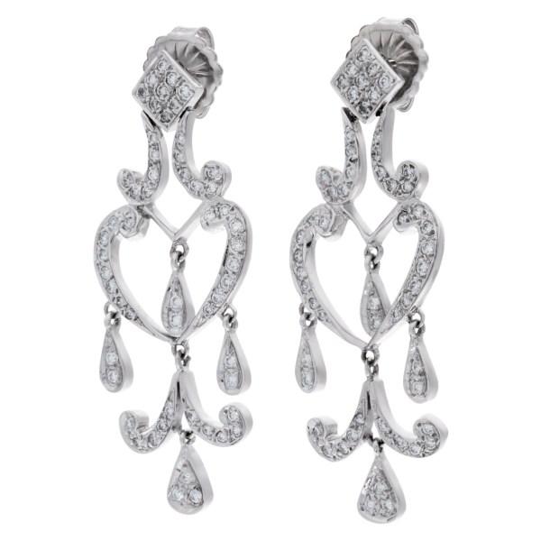 Diamond Heart Chandelier earrings in 18k white gold