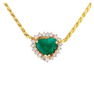 Heart shape 3.01 carat, Columbian Emerald & diamonds chain/necklace. 16 inches.