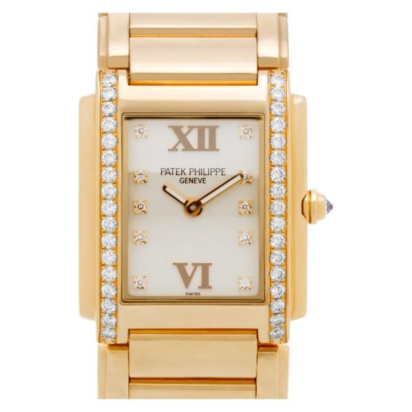 Patek Philippe 24 4910/11R 18k rose gold 25mm Quartz watch