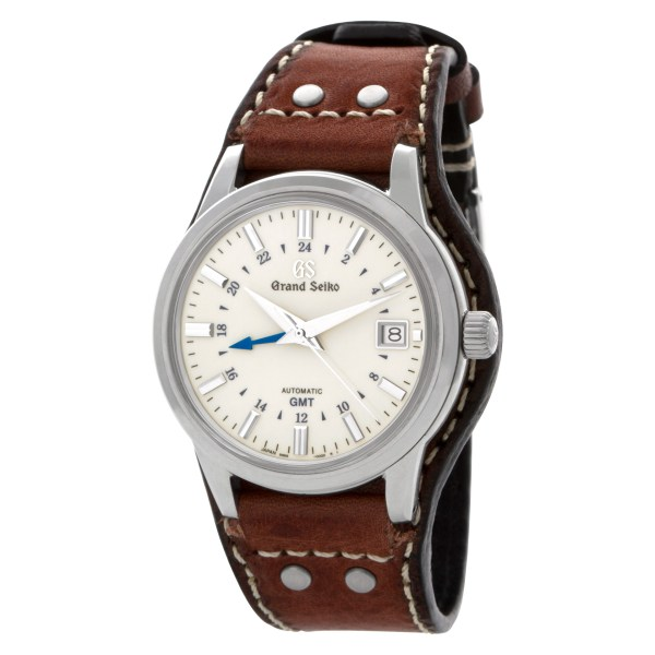 Seiko Grand GMT SBGM221 Stainless Steel Cream dial 39mm Automatic watch