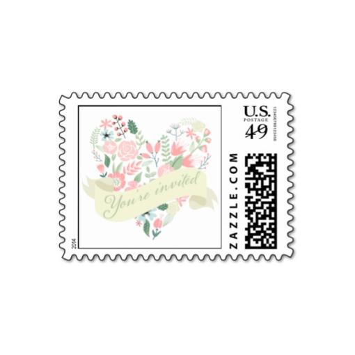 Wedding Postage Stamps   Modern Floral Heart Wedding Postage Stamps Luxury Wedding Invites