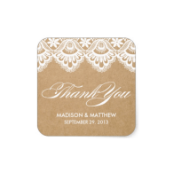 rustic_lace_wedding_favor_labels_square_sticker-217689049614070603