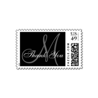 thank_you_monogram_wedding_black_usps_postage-172533909713966393