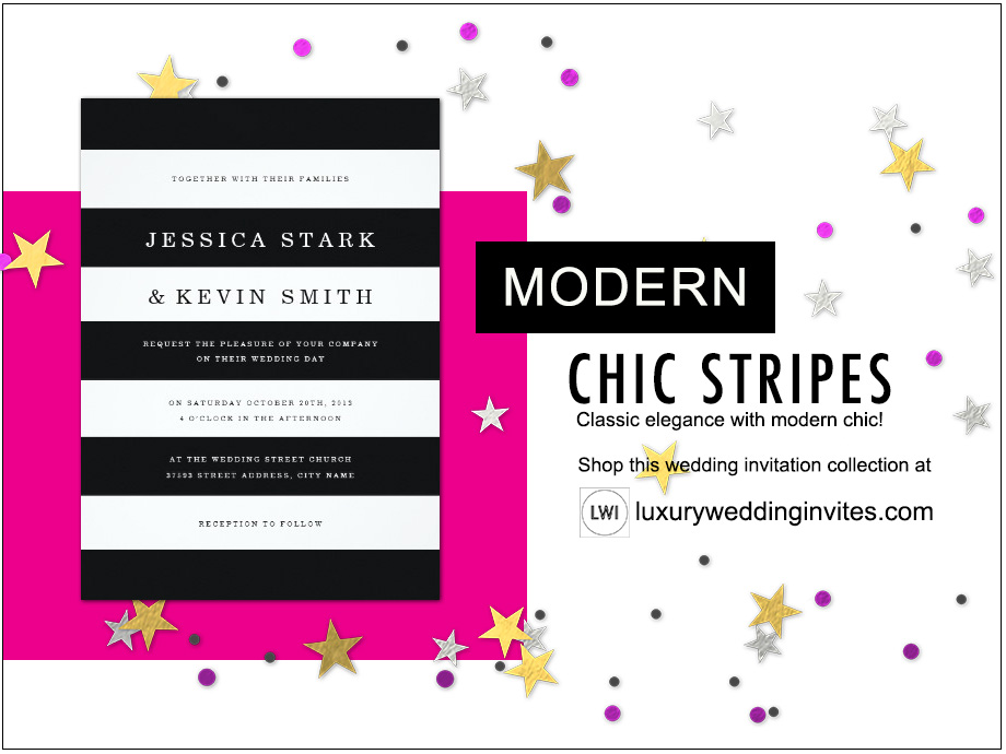 Black and white chic stripes wedding invitation shown for modern wedding themes inspiration board