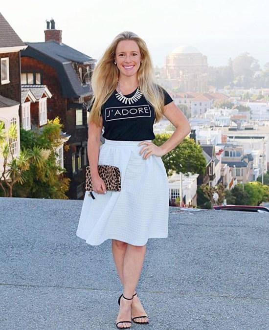Black Tee and White Skirt