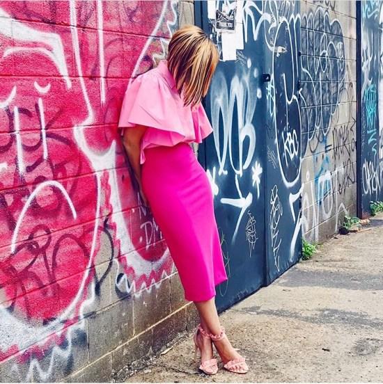 Cute Outfits - Monochromatic Pink Sheath Dress