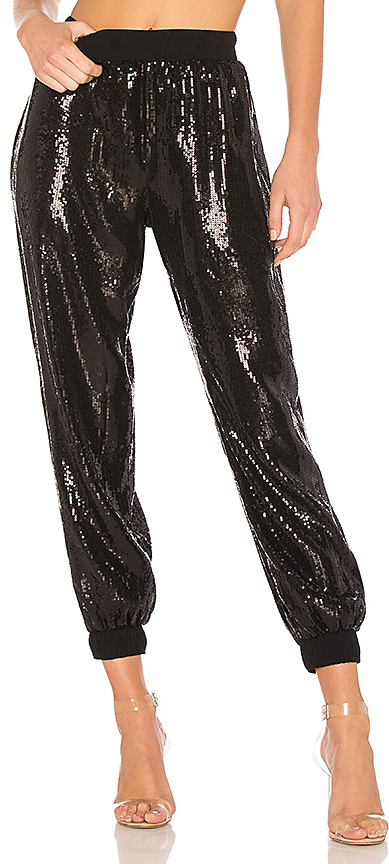 Black Sequin Joggers at REVOLVE