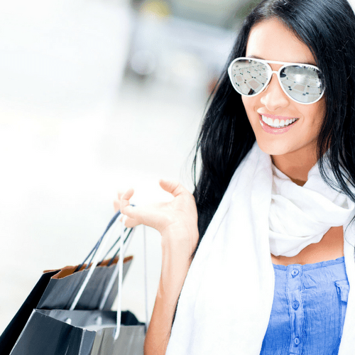 Happy Woman Shopping - Mobile Responsive Image for Landing Page