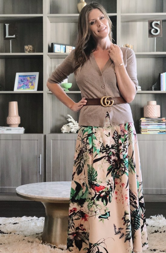 Maxi dress outfits - neutral belted cardigan over maxi dress