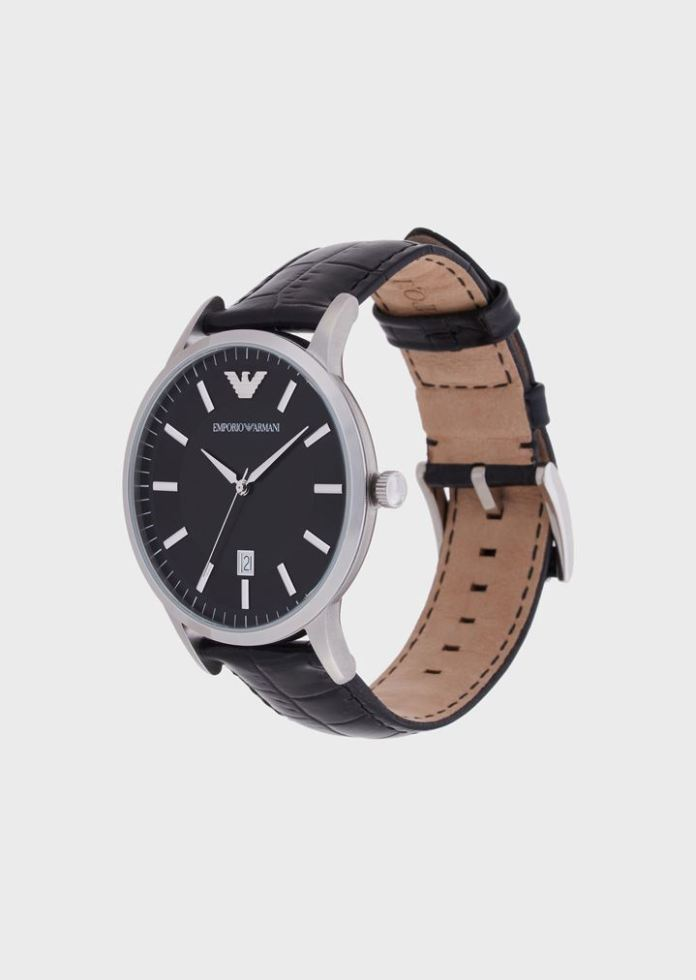Classic Emporio Armani watch with leather strap