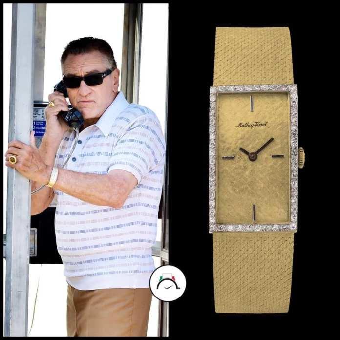 American actor Robert DeNiro wearing a yellow gold vintage Mathey-Tissot watch